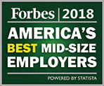 Forbes 2018 America's Best Mid-size Employers award