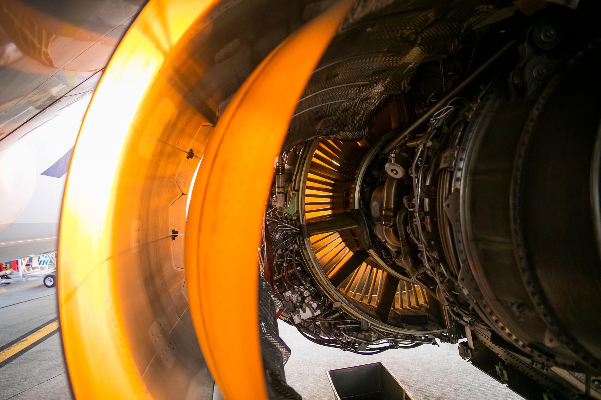 Inside of a jet engine