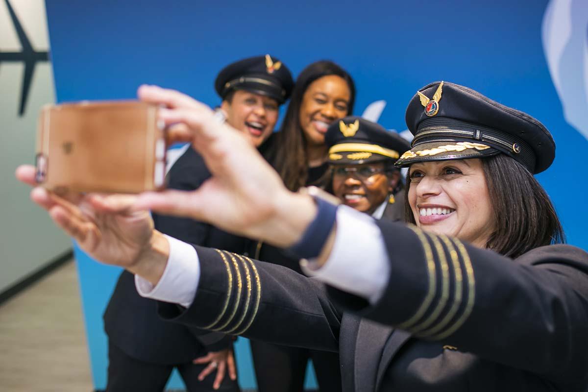 Diverse group of women taking a selfie