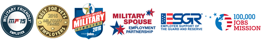 awards- military friendly 2015, Best for vets 2016, most valuable employer 2016, military spouse, ESGR, 100,000 jobs mission