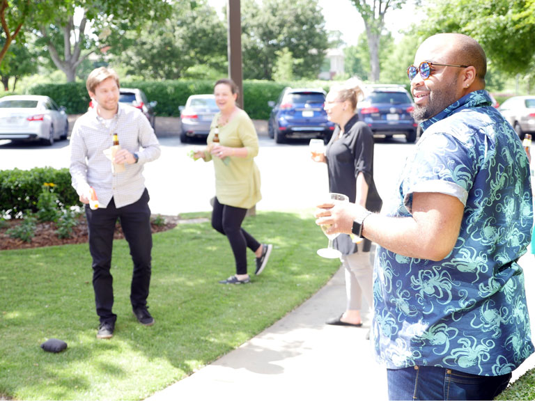 Monthly Company Mingles where a water pistol fight could happen.