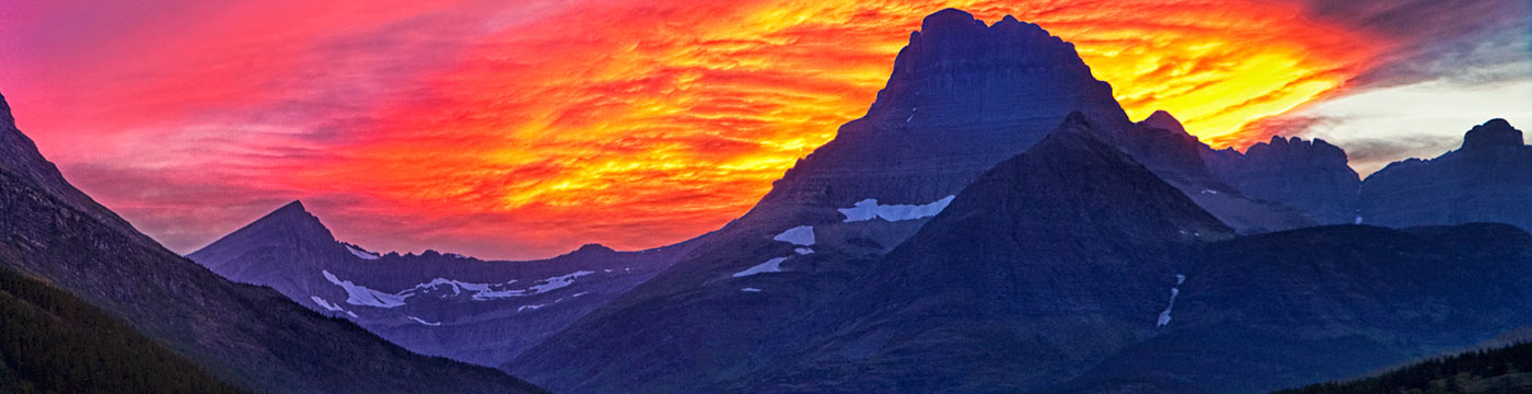 Sunrise over Glacier National Park near Missoula, Montana.