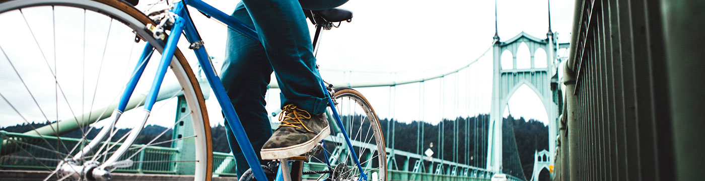 Portland, Oregon Bike Commuter on St Johns Bridge.