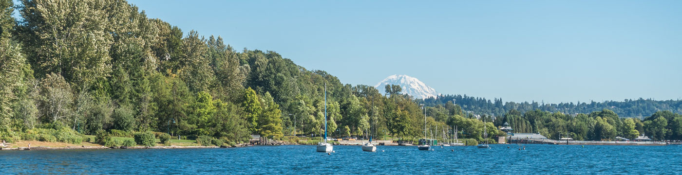 Coulon Park shoreline with Mt. Rainier backdrop in Renton, Washington