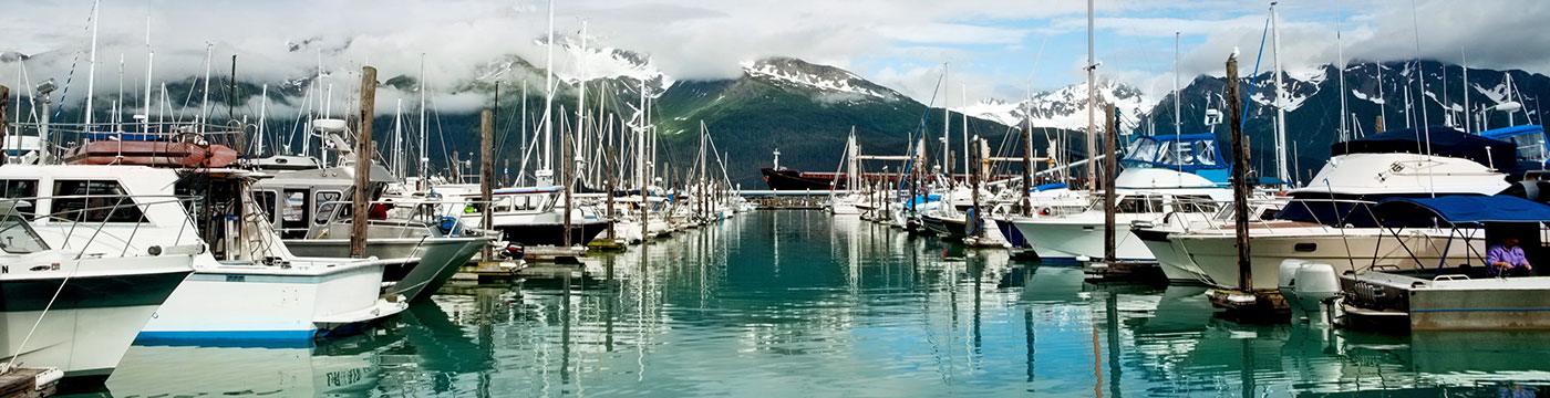 Boats docked in Seward Alaska bay