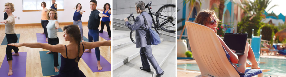 Images of yoga, fitness center and bootcamp