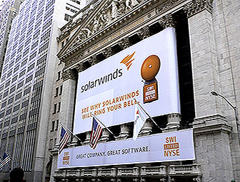 Solarwinds banner at NY Stock Exchange