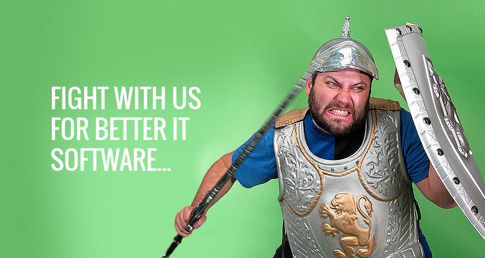 Fight with us for better it software - employee dressed as roman warrior attacking with spear and shield